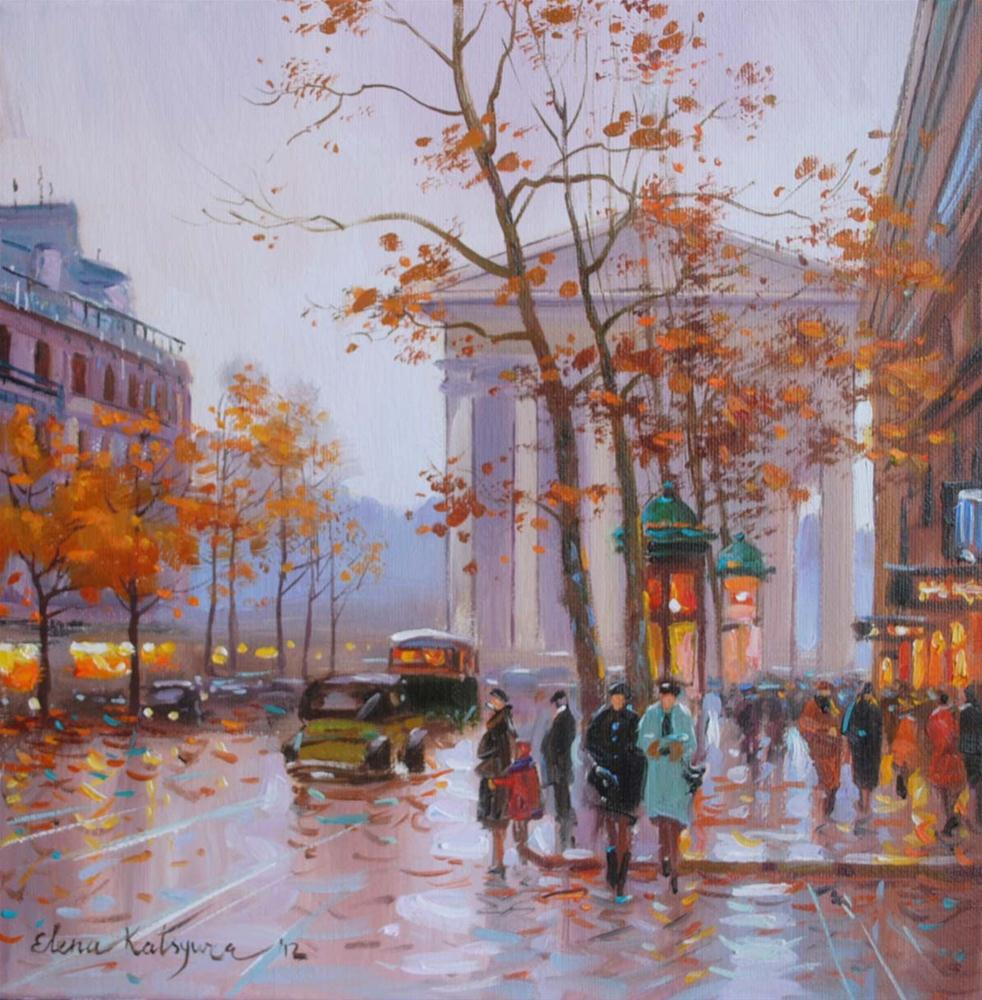 """Autumn Boulevard"" original fine art by Elena Katsyura"