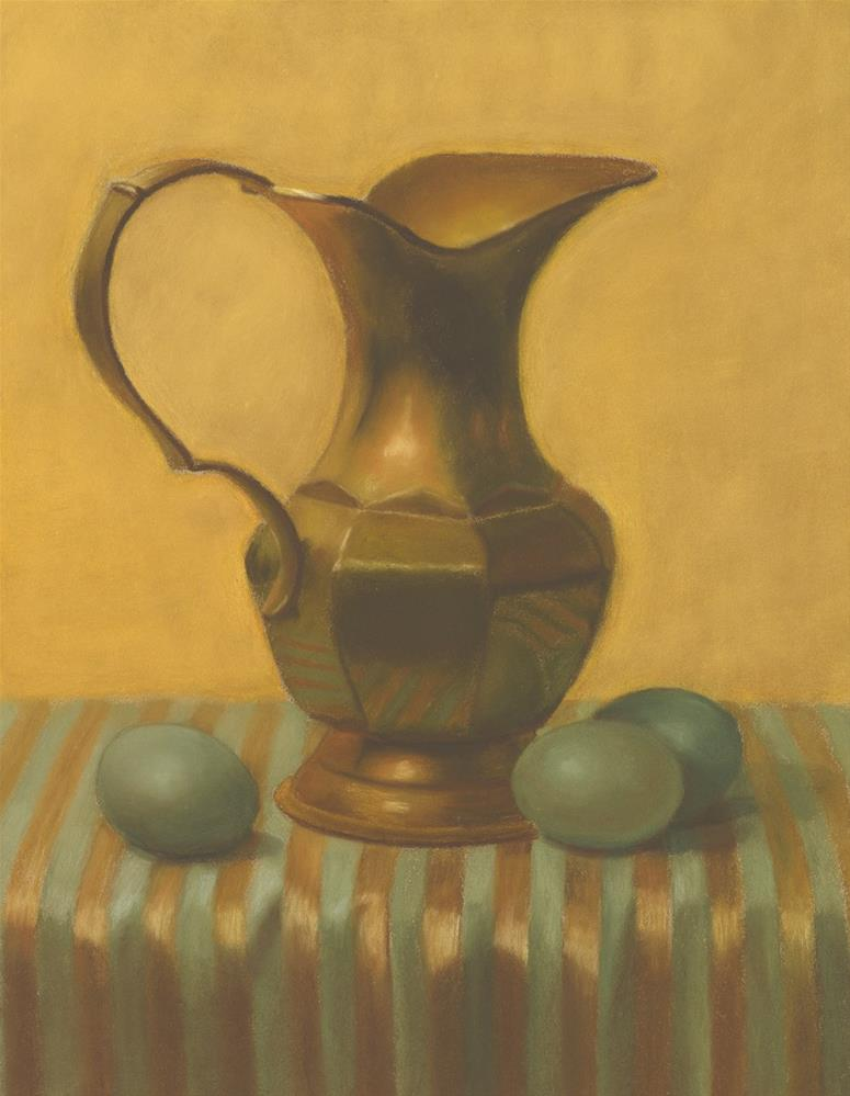 """Brass Pitcher with Green Eggs"" original fine art by Susan Fern"