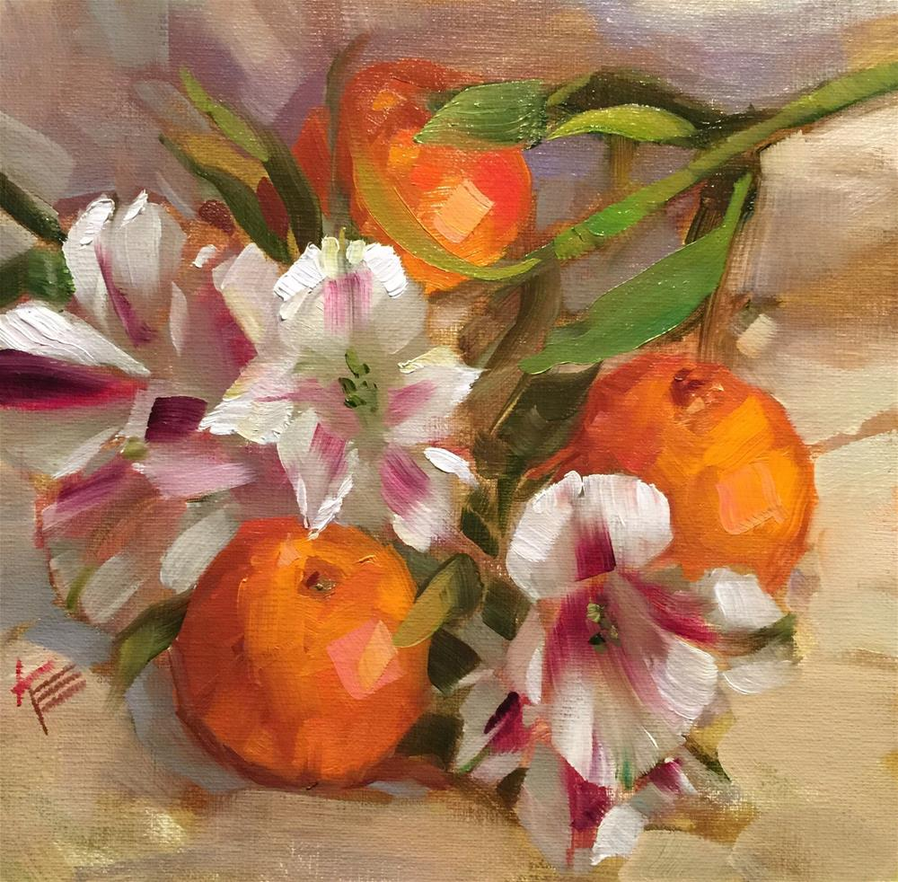 """Oranges & Astros"" original fine art by Krista Eaton"