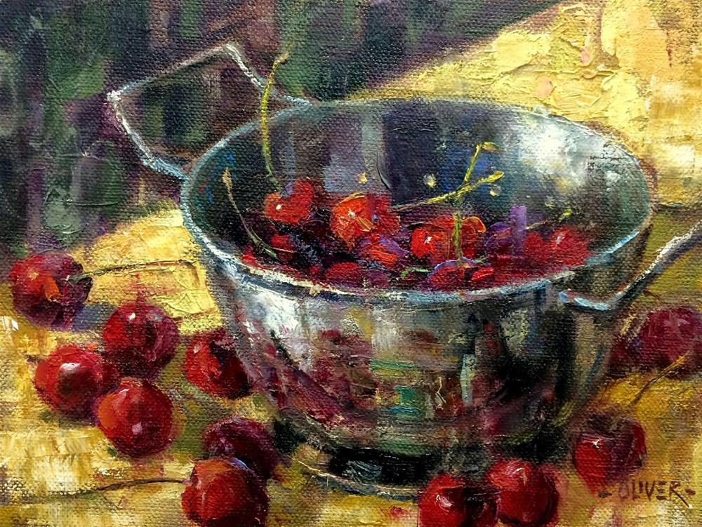 """Cherries -   Day 26 in the Challenge"" original fine art by Julie Ford Oliver"