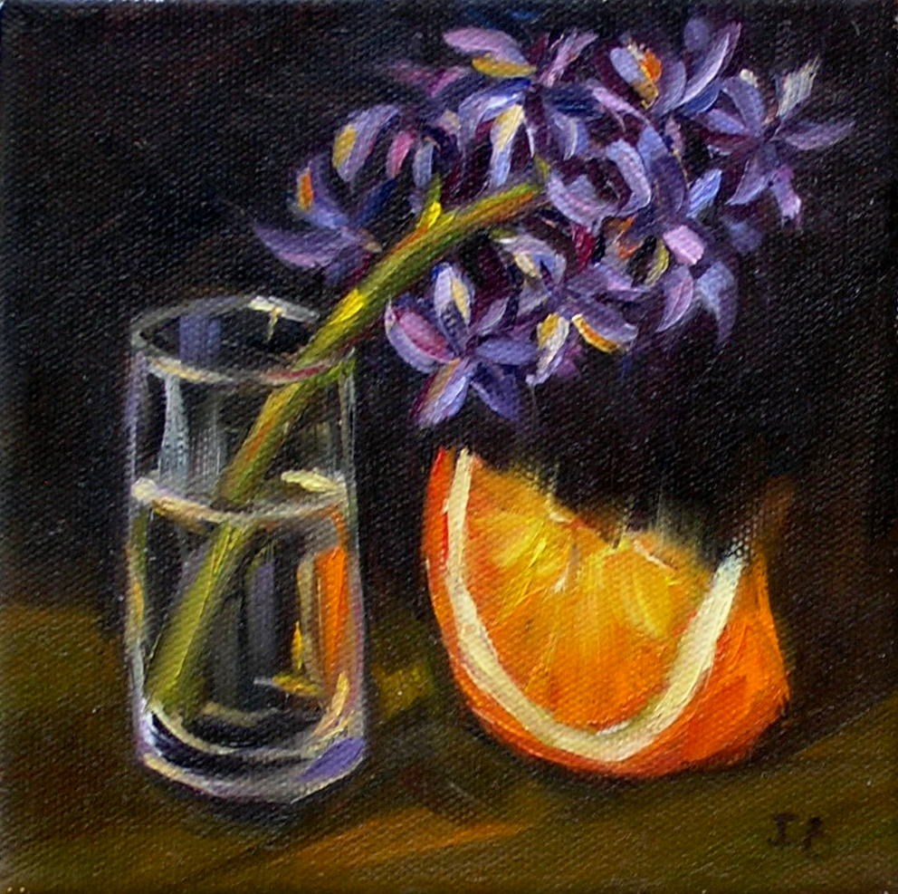 """Hyacinth and Orange"" original fine art by Irina Beskina"