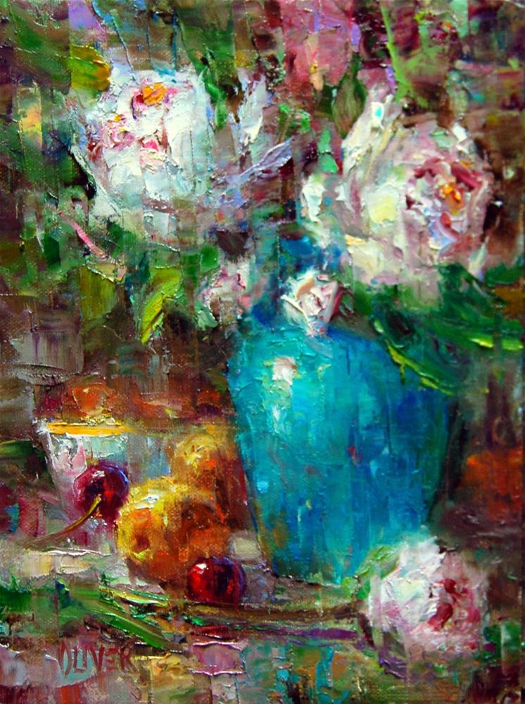 """Peonies, Apricots and Turquoise #2"" original fine art by Julie Ford Oliver"