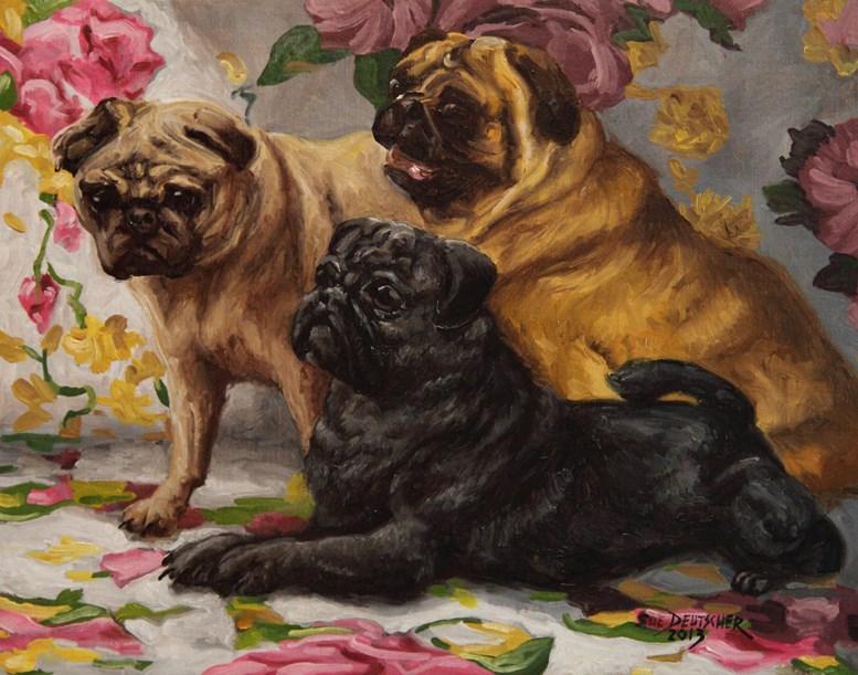 """""""Pugslies"""" original fine art by Sue Deutscher"""