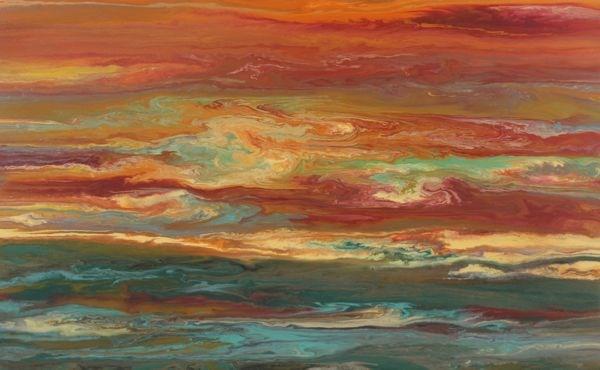 """Abstract Landscape,Sunset Art Painting ""Reflecting A Blazing Sky"" by Colorado Contemporary Artist Ki"" original fine art by Kimberly Conrad"