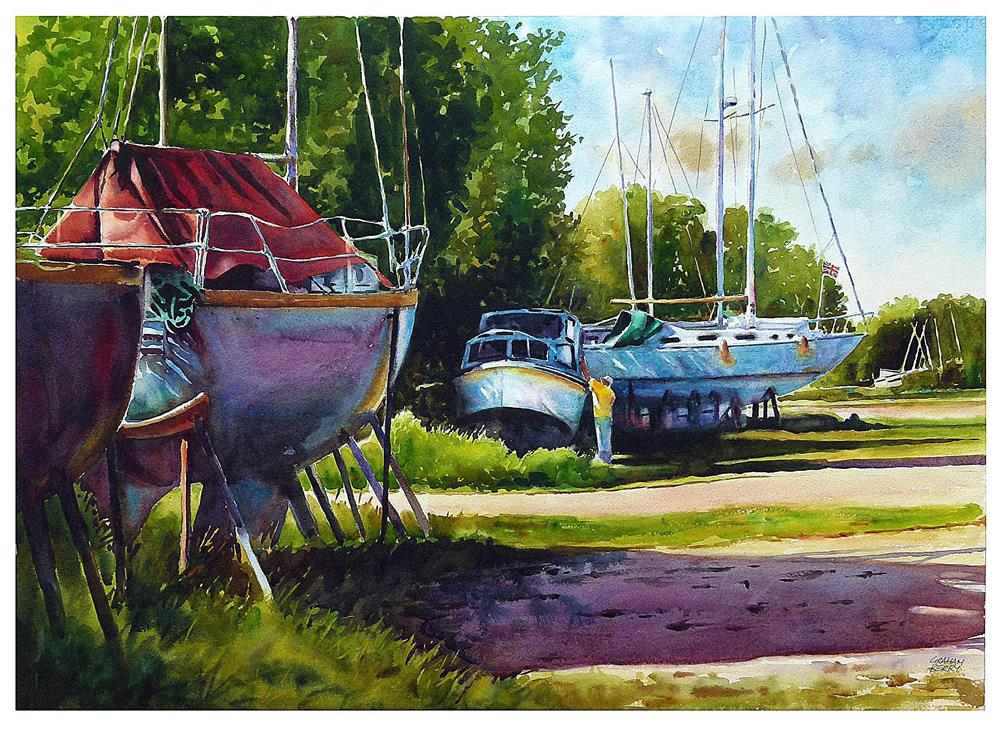 """Working on the boat."" original fine art by Graham Berry"
