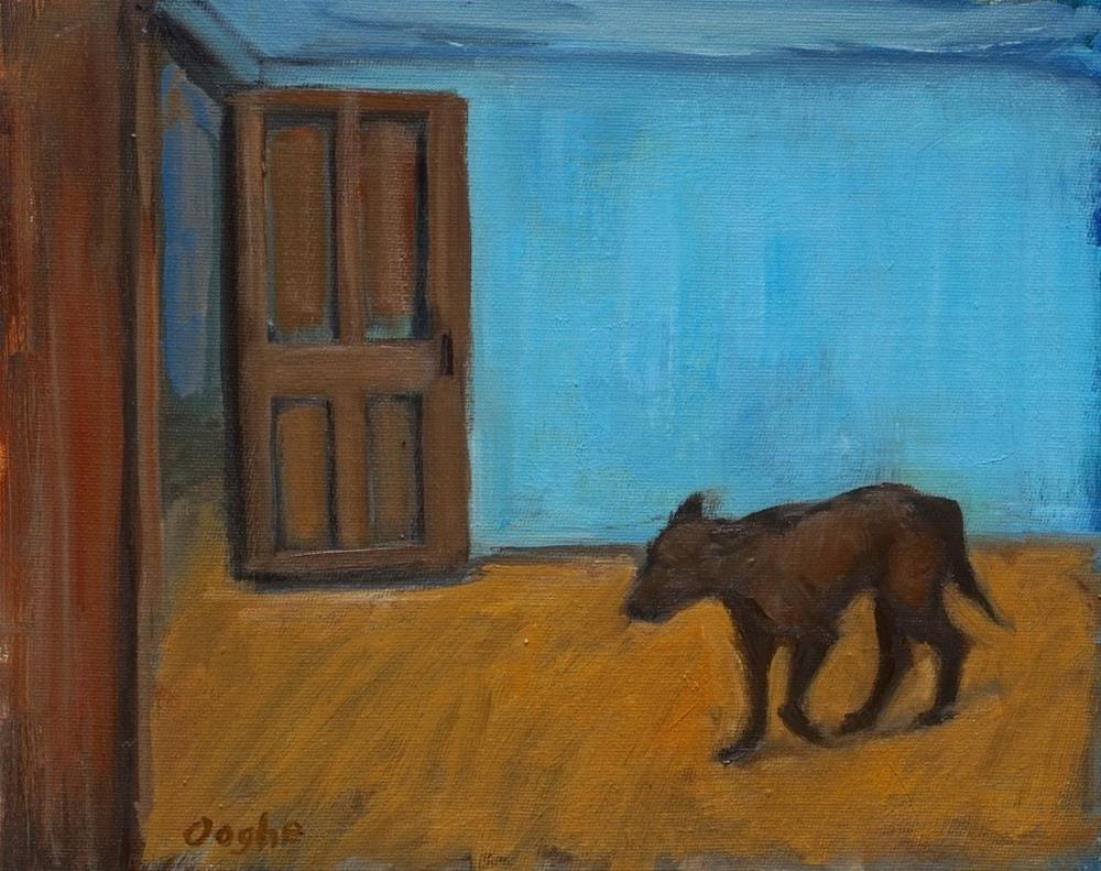 """Dog in Blue Room"" original fine art by Angela Ooghe"