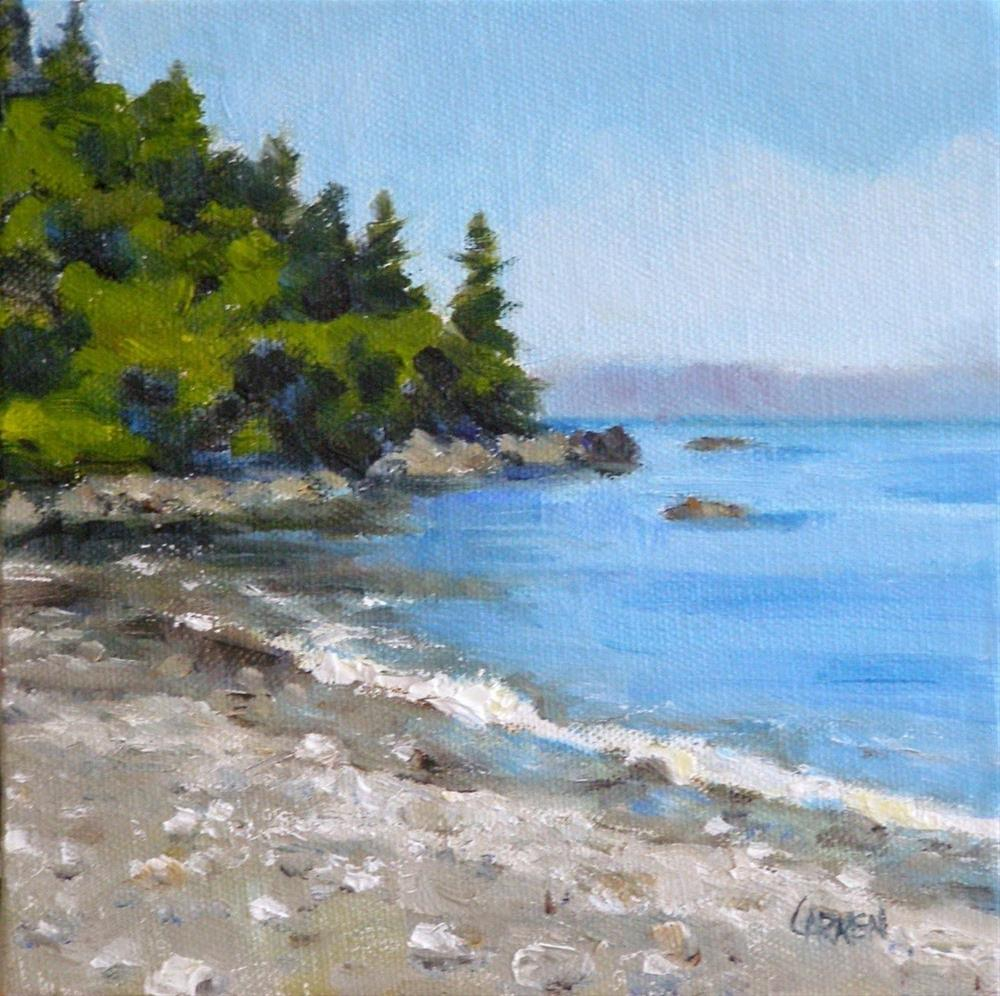 """Shoreline, 6x6 Oil on Canvas"" original fine art by Carmen Beecher"