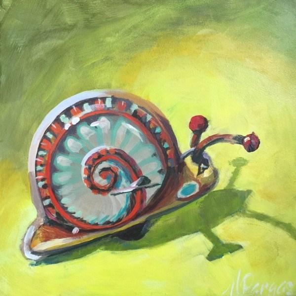 """Windup Escargot"" original fine art by Mary Pargas"