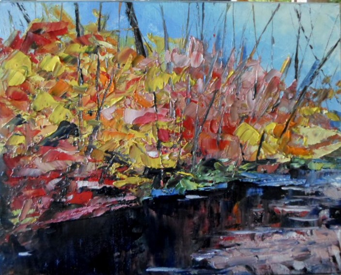 """8 x 10 inch oi Fall Colors #7"" original fine art by Linda Yurgensen"