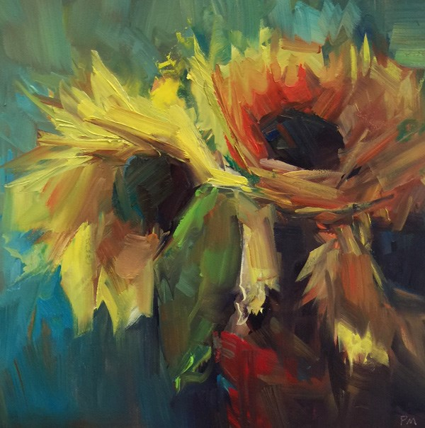 """Sunset Sunflowers"" original fine art by Patti McNutt"