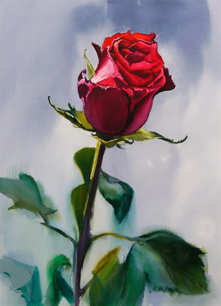 """rose of love"" original fine art by Beata Musial-Tomaszewska"