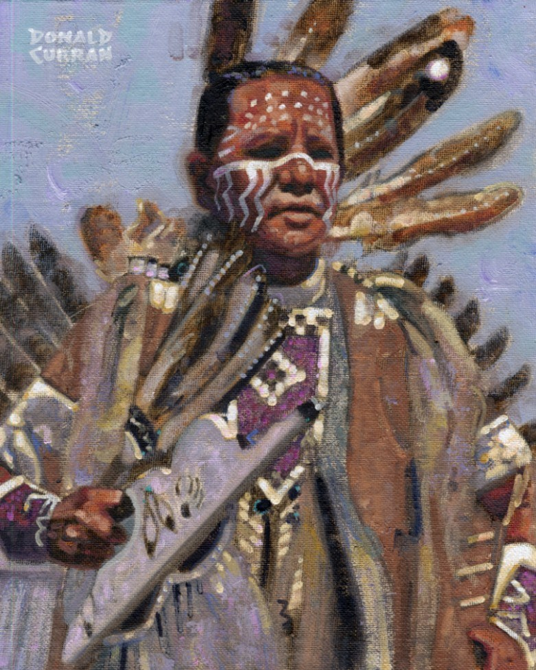 """American Indian Brave"" original fine art by Donald Curran"
