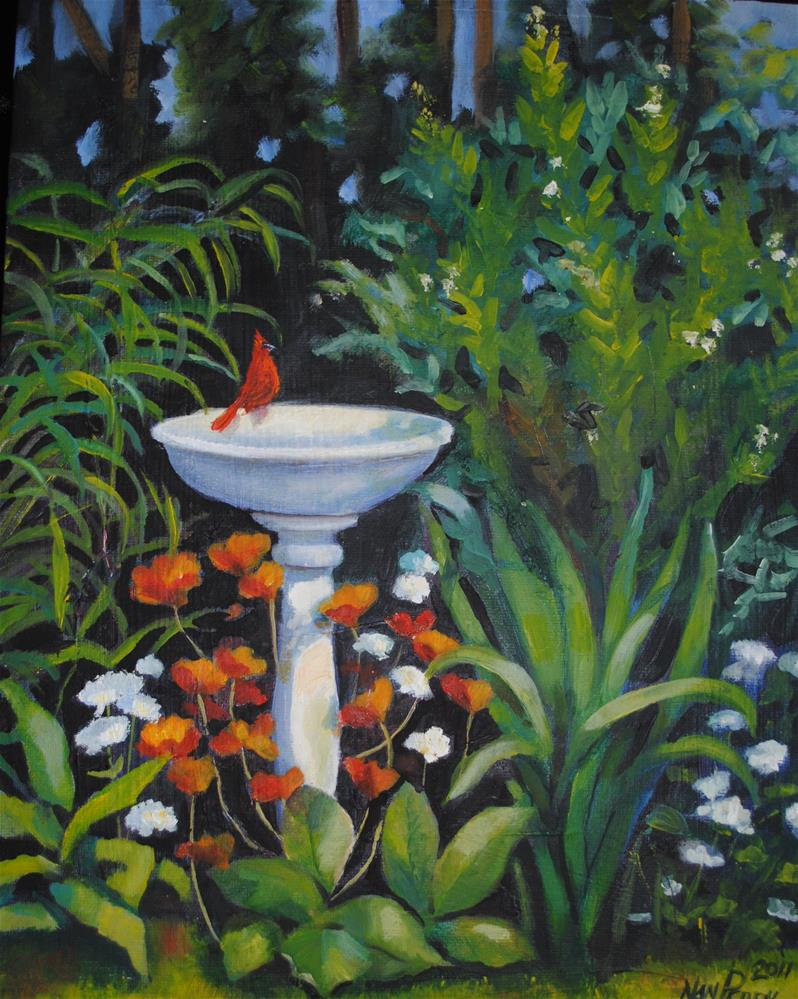 """Bird Bath"" original fine art by Nan Perry"