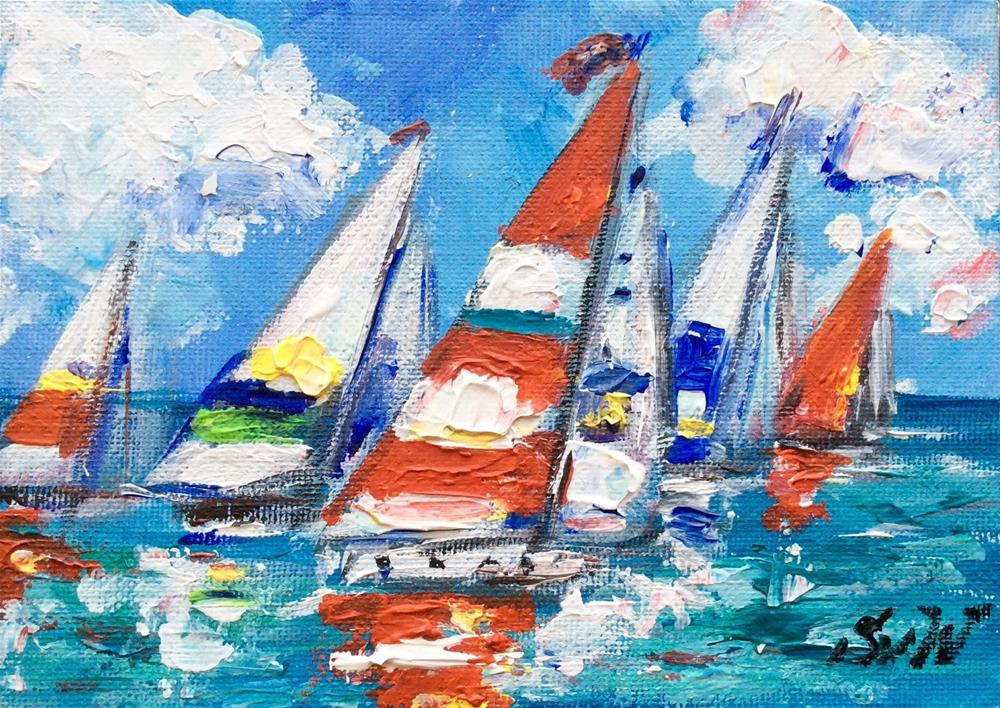 """Colours of regatta"" original fine art by Sonia von Walter"