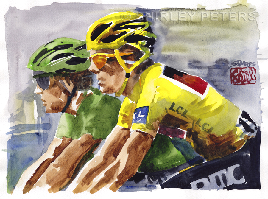 """Cadel and Mark: Le Tour de France"" original fine art by Shirley Peters"