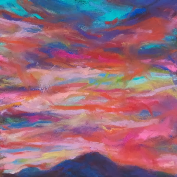 """COLORS OF DUSK- 4 1/2 x 4 1/2 sunset pastel by Susan Roden"" original fine art by Susan Roden"