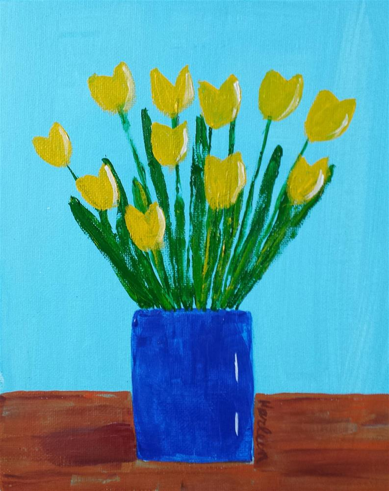 """Yellow Tulips"" original fine art by Karleen Kareem"