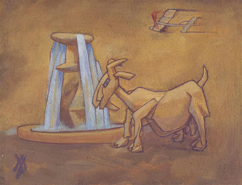 """Fountain Goat"" original fine art by Mark Allison"