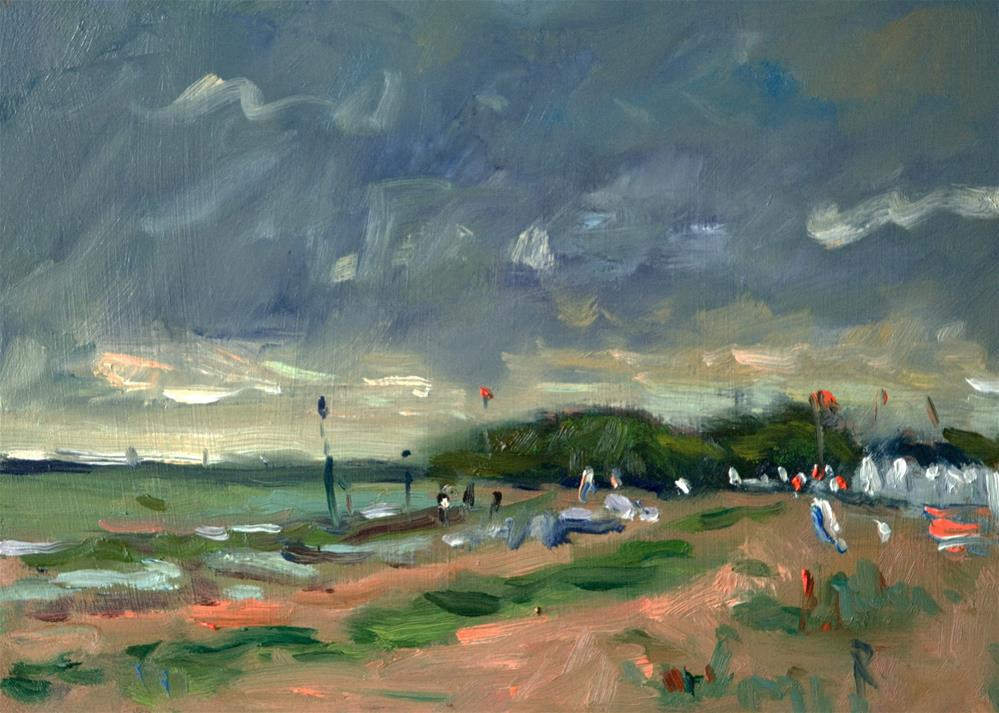 """Rain Clouds at Goring by Sea"" original fine art by Andre Pallat"