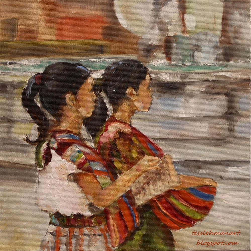 """Ninas by the Fountain"" original fine art by Tess Lehman"