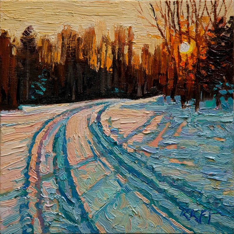 """Snowy Drive: 6x6 oil on panel"" original fine art by Ken Faulks"