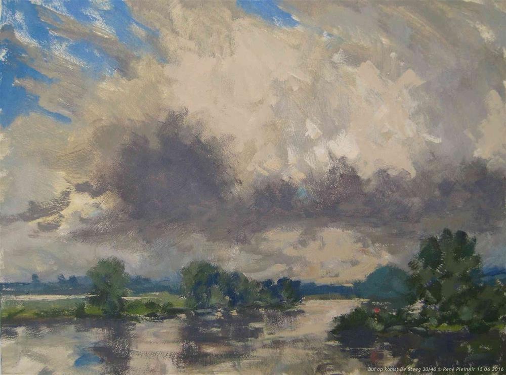 """There it comes De Steeg, The Netherlands"" original fine art by René PleinAir"