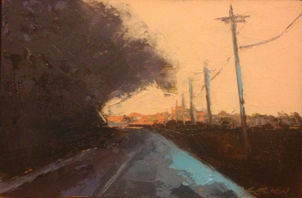 """Minervaville, Dusk"" original fine art by Mary Gilkerson"
