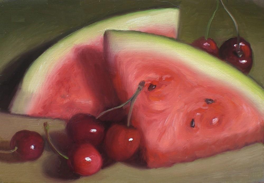 """Watermelon and Cherries"" original fine art by Debra Becks Cooper"