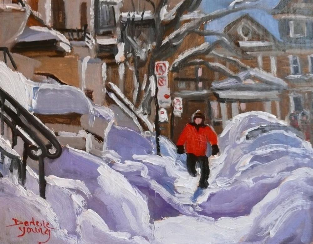 """Montreal East Snowbank Hurdles"" original fine art by Darlene Young"