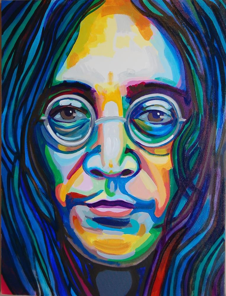 """John Lennon (color contact 11)"" original fine art by michael vigneux"