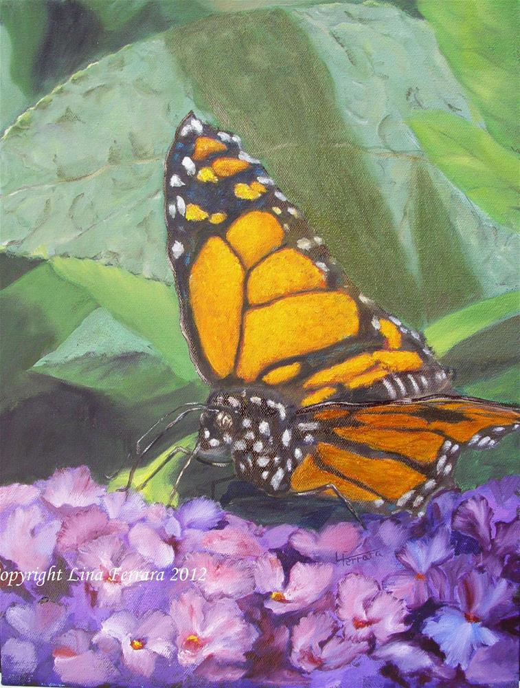 """Monarch and Butterfly Bush"" original fine art by Lina Ferrara"