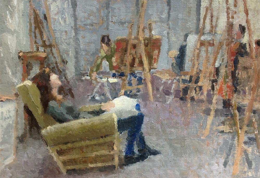 """L'atelier"" original fine art by Christine Bayle"