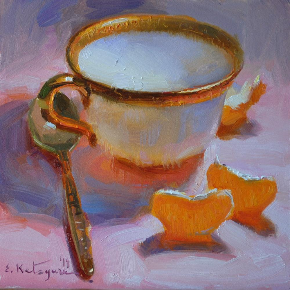 """White Cup and Citrus"" original fine art by Elena Katsyura"
