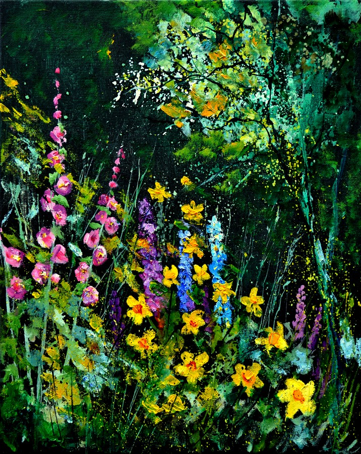 """garden flowers 451170"" original fine art by Pol Ledent"