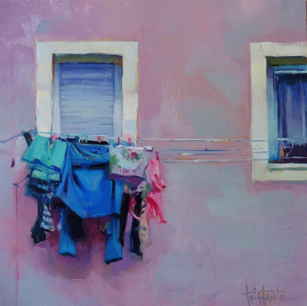 """Hung clothes"" original fine art by Víctor Tristante"