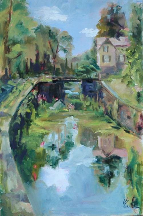 """Vallée des éclusiers"" original fine art by Evelyne Heimburger Evhe"