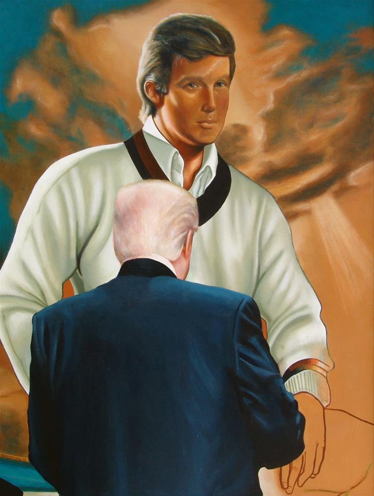 """""""Donald Trump Looking At Himself- Painting of a Donald Trump enjoying painting of a young Donald Trum"""" original fine art by Gerard Boersma"""