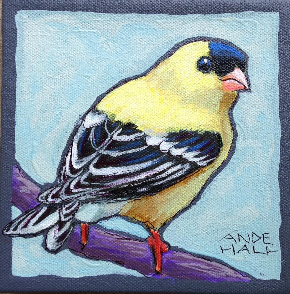 """American Goldfinch"" original fine art by Ande Hall"