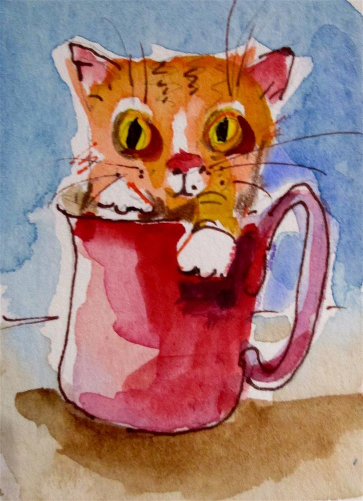 """Cup of Tabby"" original fine art by Delilah Smith"