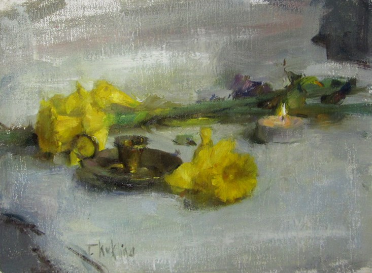 """still life with candle"" original fine art by Taisia Kuklina"