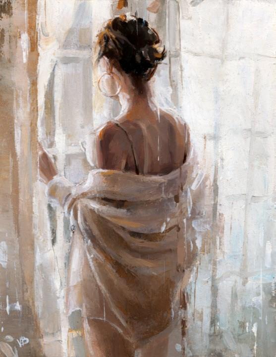 """MORNING COFFEE-6"" original fine art by Victor Bauer"