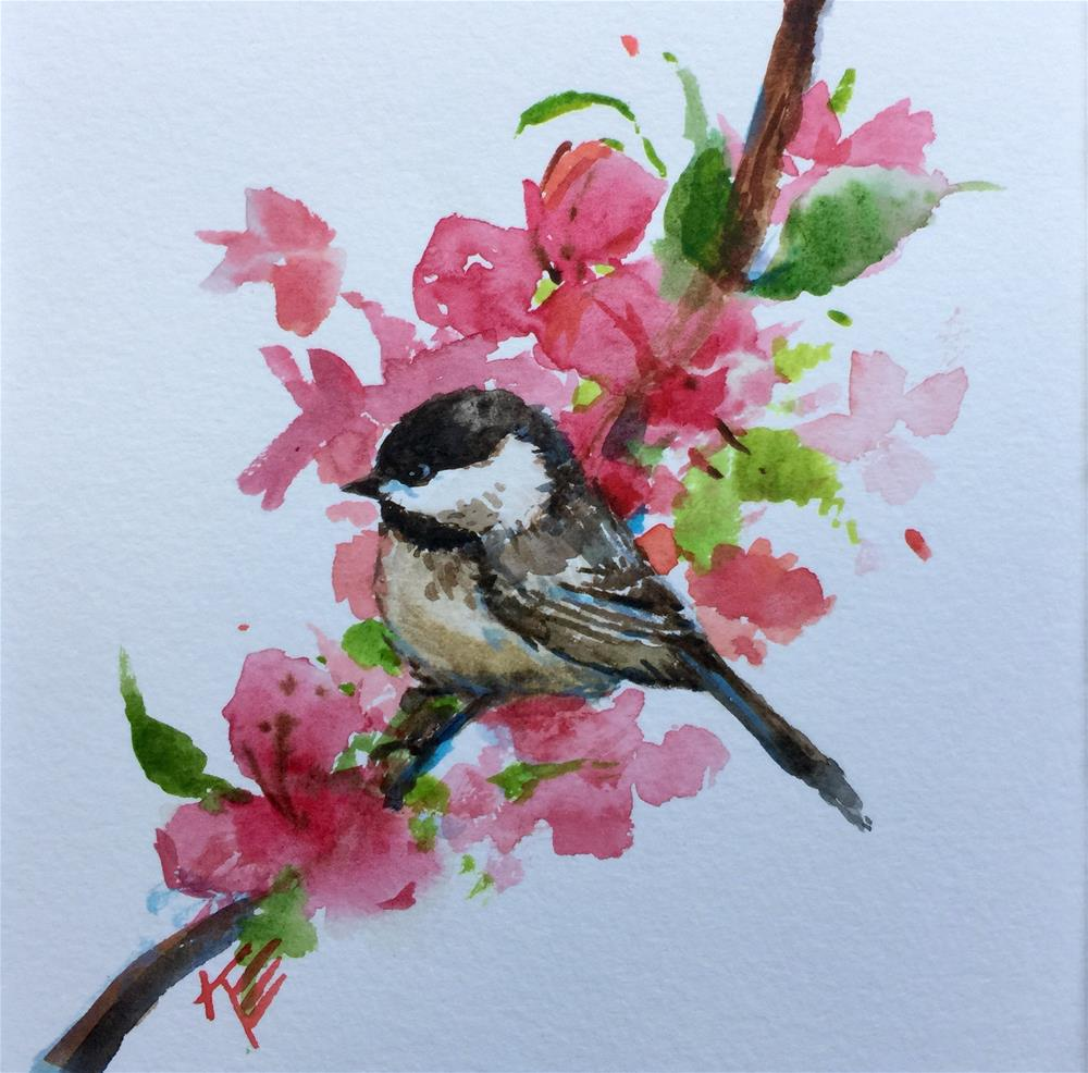 """Chickadee & Blossoms"" original fine art by Krista Eaton"