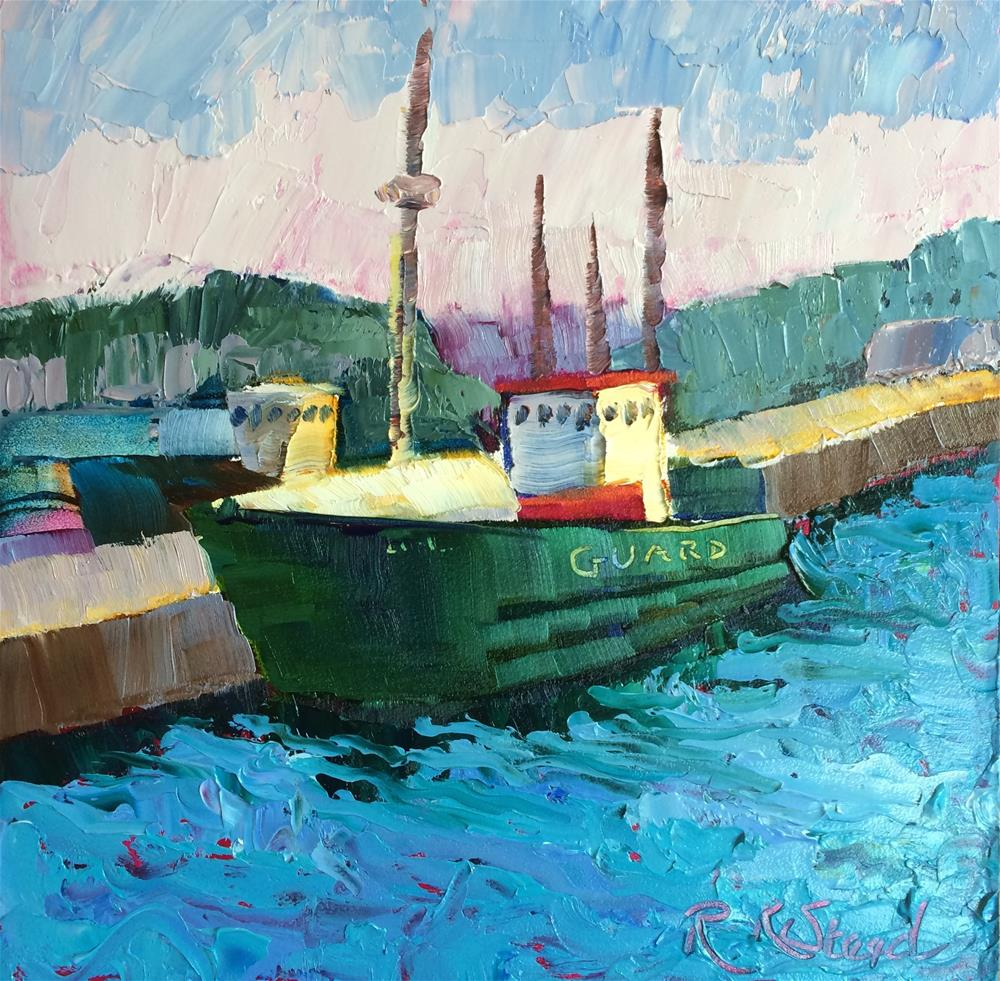 """GUARD in Dingle, Ireland; boats in Dingle Harbor"" original fine art by Roxanne Steed"