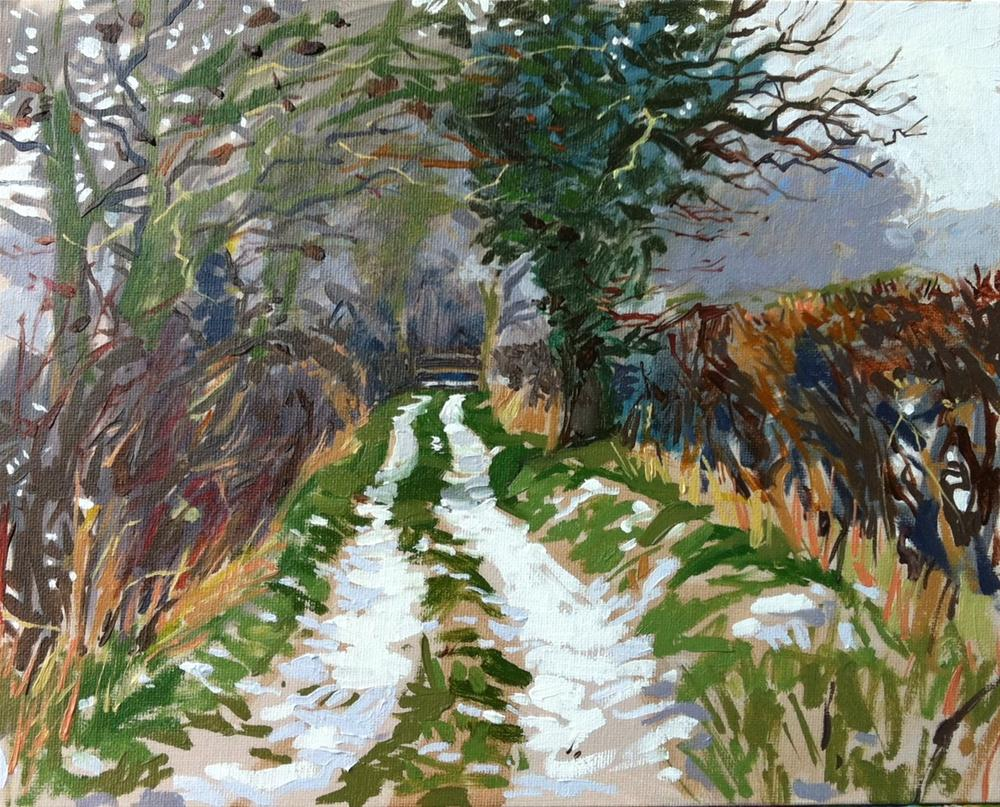 """Last snow in the lane"" original fine art by Haidee-Jo Summers ROI"