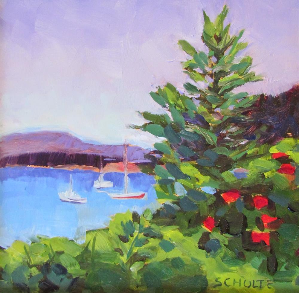 """Harbor with Roses"" original fine art by Lynne Schulte"