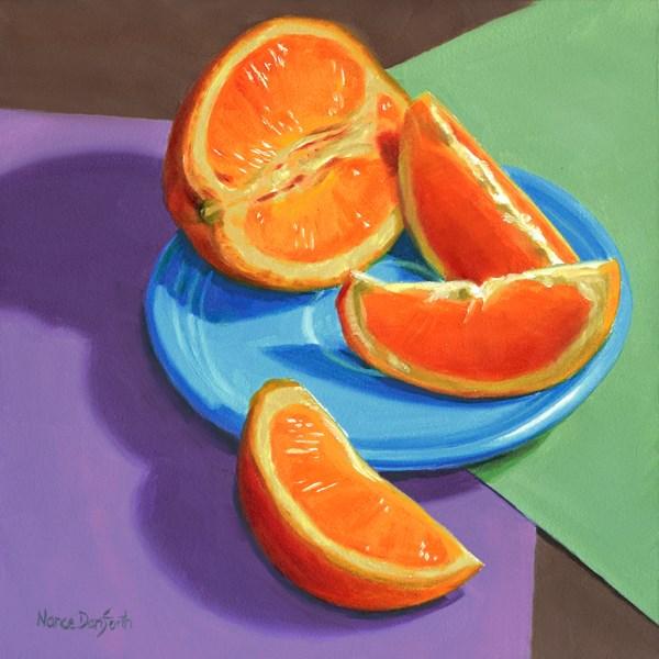 """Orange on Blue Plate"" original fine art by Nance Danforth"