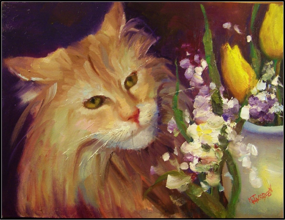 """Aragorn, 9x12, oil on board, cats, pretty cats, flowers and cats, tulips, yellow tulips"" original fine art by Maryanne Jacobsen"