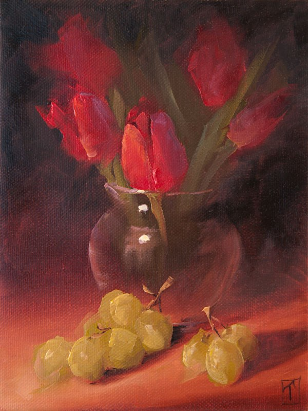 """Study of Tulips and Grapes"" original fine art by Lori Twiggs"