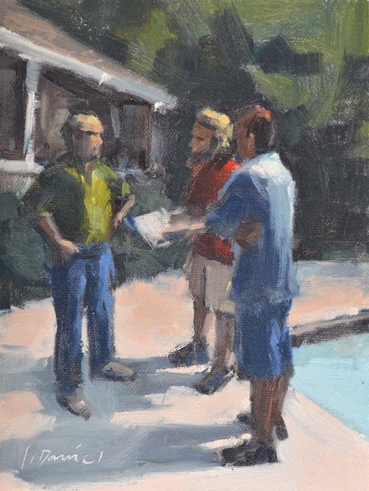 """The Boss and his Punch List - men at work"" original fine art by Laurel Daniel"