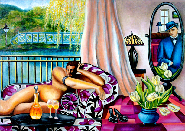 de Lempicka Painting, The Man in The Mirror by k Madison Moore original fine art by K. Madison Moore